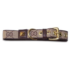 """Repurposed Brown Gucci Dog Collar Med Neck 12""""-14"""""""